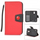 Stylish Flip-open PU + TPU Case w/ Holder + Card Slot + Strap for Samsung S5 - Red + Black