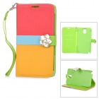 Rhinestone Flower Buckle Protective PU Leather Case w/ Stand / Card Slot for Samsung Galaxy Note 3