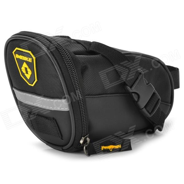 INBIKE B576 PU Bike Cycling Tail Bag - Black - DXBike Bags<br>Main pocket provides enough space convenient to storage tools or any other small bike gadgets; Braid band can hang lights quick release buckle design; Easily install on the bike; Reflective tape design more safe for night riding.<br>