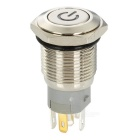 16mm Red LED 12V Reset Push Button Key Switch - Silver