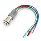 SZGAOY 14032402 12V 3A Self-Lock Push Button Switch w/ Cable for Cars / Motorcycles - Silver