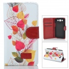 Fresh Leaf Pattern Flip-open PU Case w/ Holder + Card Slot for Samsung Galaxy S3 - White + Yello