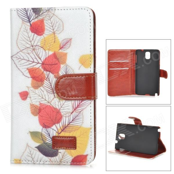 Fresh Leaf Pattern Flip-open PU Case w/ Holder + Card Slot for Samsung Galaxy Note 3 - White + Red alligator pattern protective flip open pu leather case for samsung galaxy note 3 n9000 white