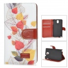 Fresh Leaf Pattern Flip-open PU Case w/ Holder + Card Slot for Samsung Galaxy Note 3 - White + Red