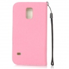 Stylish Flip-open PU + TPU Case w/ Holder + Card Slot + Strap for Samsung S5 - Light Pink + White