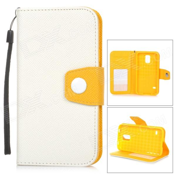 Stylish Flip-open PU + TPU Case w/ Holder + Card Slot + Strap for Samsung S5 - White + Orange 7 inch for asus me173x me173 lcd display touch screen with digitizer assembly complete free shipping