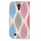 Patterned Flip-open PU Case w/ Holder + Card Slot for Samsung S4 i9500 - White + Red