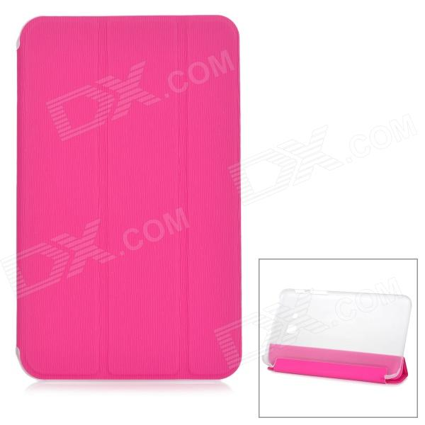 Protective PU Case w/ Stand + Screen Protector for Samsung Galaxy Tab 3 Lite T110 / T111 - Deep Pink oringinal honeywell mk9520 lite grey stand