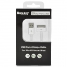 MFi Huntkey 30-Pin Male to USB 2.0 Male Sync / Charge Cable - White