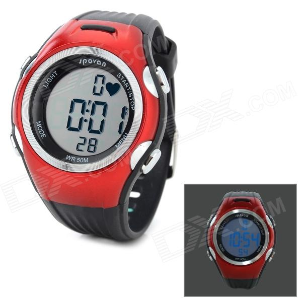 Spovan SPV906 Sports Quartz Digital Wrist Watch / Heart Rate Monitor + Chest Belt - Red + Black