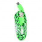 Micro 5-Pin Male to USB Male Nylon Data Charging Cable  - Green (98cm)