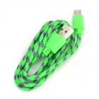 Micro de 5 pines macho a USB macho de nylon de datos cable de carga - Green (98cm)
