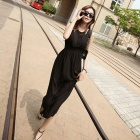 YLY-XJB3-3590 Fashionable Strapy Chiffon Maxi Dress - Black (L)