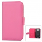 Stylish Flip-open Sheep Skin Case w/ Card Slot for Samsung Galaxy S5 - Deep Pink