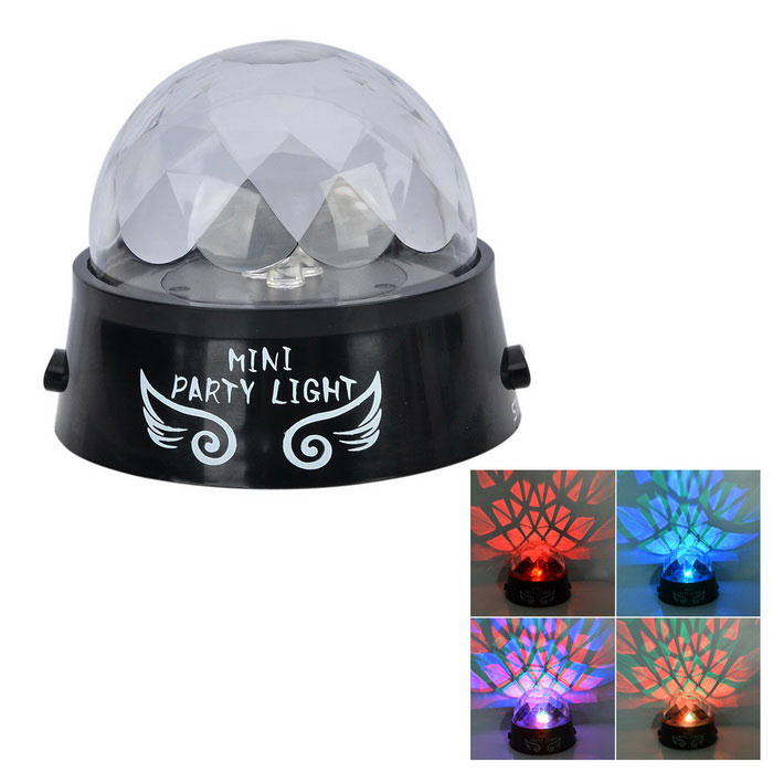 Universal tryckknapp Rotary Colorful Stage Projection Light - Svart + Transparent (3 x AA)