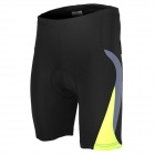 ARSUXEO AR5558 Comfy Skinny Elastic Sports Pants w/ Hip Padding for Cycling - Black + Yellow (L)