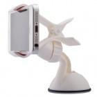 Mobile Phone Holder w/ Double USB Car Charger w/ Micro-USB Cable for SAMSUNG / HTC / SONY - White