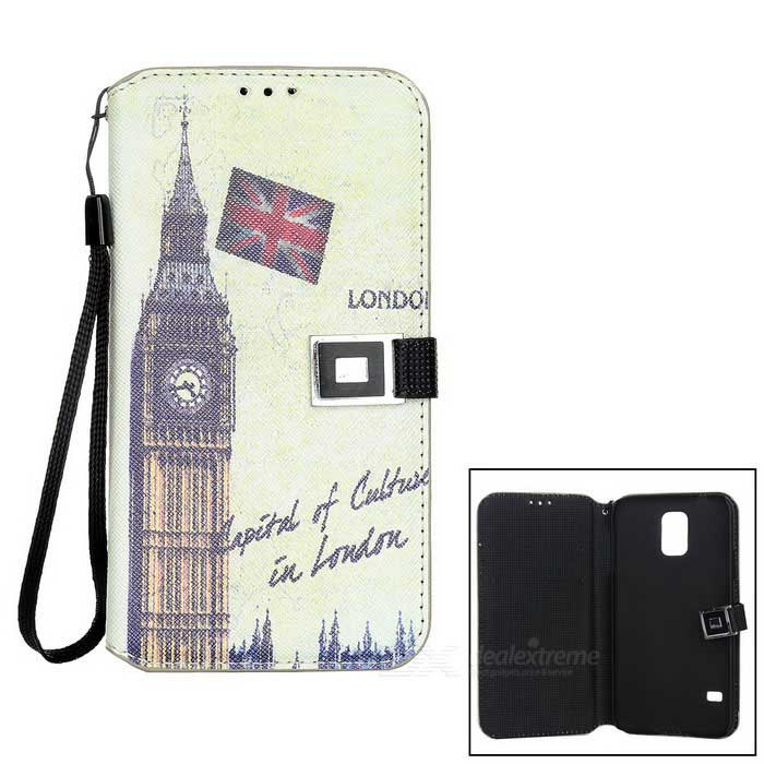 все цены на Retro Big Ben Pattern Flip-open PU Case w/ Card Slot for Samsung Galaxy S5 - Grey онлайн