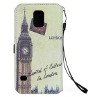 Retro Big Ben Pattern Flip-open PU Case w/ Card Slot for Samsung Galaxy S5 - Grey