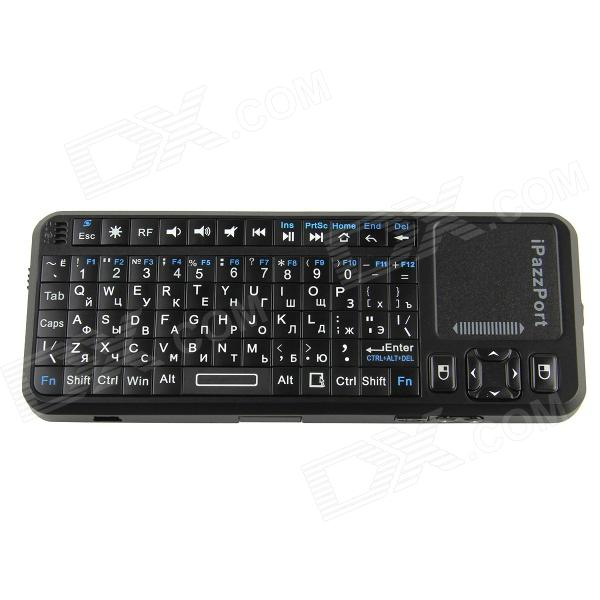 iPazzport KP-810-10A 2.4G Russian / English Wireless 83-Key Keyboard with Laser Pen - Black