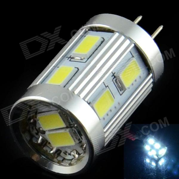 HZLED G4 1.8W 110lm 6000K 12 x SMD 5630 LED White Light Lamp Bulb - White + Silver (AC / DC 12V)