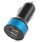 S-What Dual USB Car Cigarette Lighter Power Charger w/ Indicator - Black + Blue
