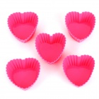 Sweet Heart Style Silicone Baking Mould for Cake / Muffin + More - Pink (5 PCS)