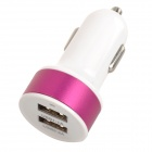 S-What Double USB Power Car Cigarette Lighter Plug Charging Adapter - White + Deep Pink (12~24V)