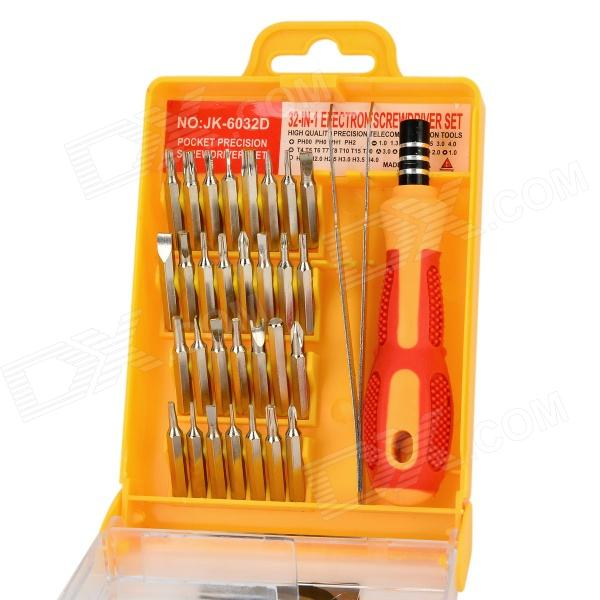 Handy Professional 30-in-1 Screwdriver w/ Handle Tool Set - Yellow + Red + Silver