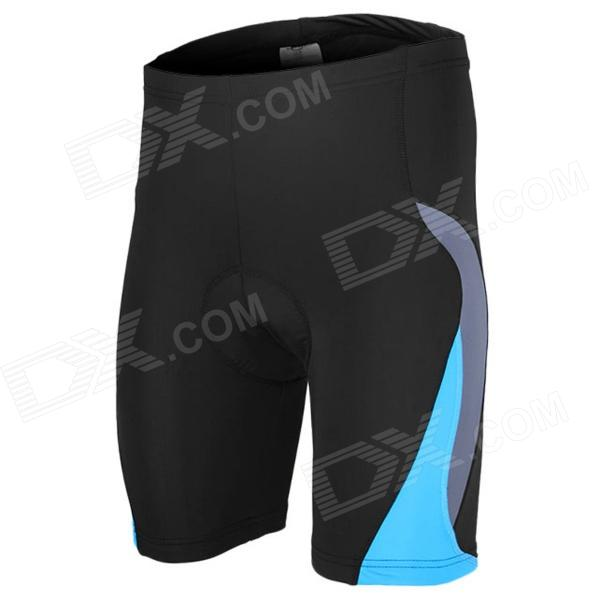 ARSUXEO AR5558 Comfy Skinny Elastic Sports Pants w/ Hip Padding for Cycling - Black + Blue (L)