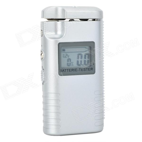 1.2'' LCD Battery Tester for 9V D / C / AA / AAA Battery - Silver Grey