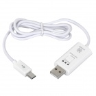 Handy USB Male to Micro USB Male Charging & Data Sync Cable w/ Switch + Indicator - White