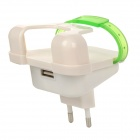Novel EU Plug USB 2.0 Port Wall Charger w/ Phone Bracket for Cellphone - White + Translucent Green