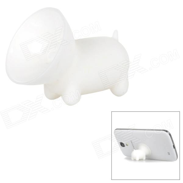 Cute Pig Style Silicone Desktop Mobile Phone Stand Holder - White