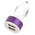 Double USB Power Car Cigarette Lighter Plug Charging Adapter - Purple + White (12~18V)