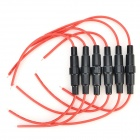 JiaHui 5 x 20mm Fuse Blocks w/ Cable - Black + Red (6 PCS)