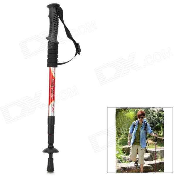 Wind Tour Outdoor 4-Section Telescopic Aluminum Alloy Trekking Pole Alpenstock - Red от DX.com INT