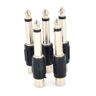 LSON 6.35mm Male to RCA Female Audio Jack Connectors - Black + Silver (5 PCS)