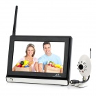 "860+703Y 7.0"" LCD Screen 2.4GHz 1.0MP CMOS Wireless Baby Safety Monitoring System - Black + White"