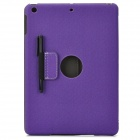 Protective 2-Fold PU Leather Case w/ Stylus for IPAD AIR - Purple