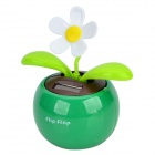 Plastic Apple Planted Flower Solar Powered Decoration - Dark Green + White + Multi-Colored