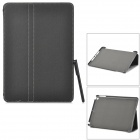 Protective 2-Fold PU + Plastic Case w/ Stylus for IPAD AIR - Black