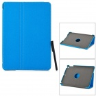 Stylish Flip-open PU + PC Case w/ Stand + Stylus + Auto Sleep for IPAD AIR - Blue
