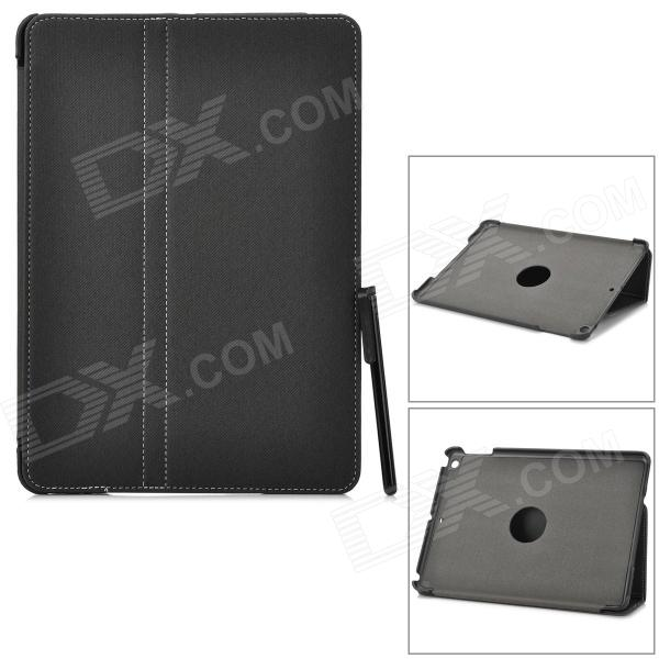 Protective 2-Fold PU Leather Case w/ Stylus for IPAD AIR - Black protective pu leather case w transparent plastic back for ipad air 2 black