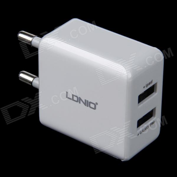 LDNIO DL-AC200 Dual USB AC Power Charger Adapter w/ Micro USB Cable - White (EU Plug / 100~240V) цена и фото