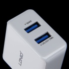 LDNIO DL-AC200 Dual USB AC Power Charger Adapter m / Micro USB Kabel-Hvit (EU Plug / 100 ~ 240V)