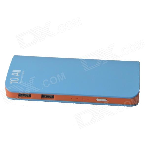 Universal Dual USB 8400mAh Mobile Power Source Bank for IPHONE / IPAD + More - Blue + Orange portable 6000mah power bank w flashlight for mobile tablet pc more pink white