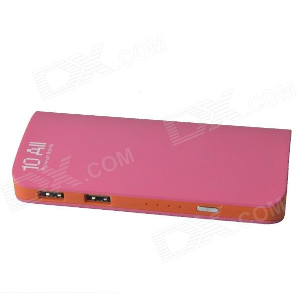 Universal Dual USB 8400mAh Mobile Power Source Bank for IPHONE / IPAD + More - Deep Pink + Orange coomax c6 12000mah dual usb mobile power source bank for iphone samsung more gary