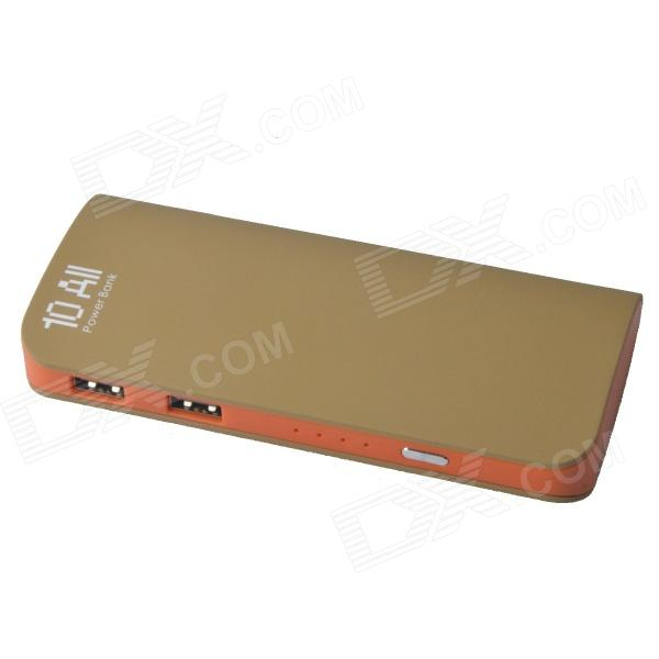 8400mAh Mobile Power Bank Fuente universal dual de USB para IPHONE / IPAD + Más - verde + naranja
