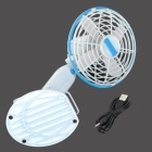 R5575A USB 2.0 Powered 4-Blade Cooling Fan - White + Blue
